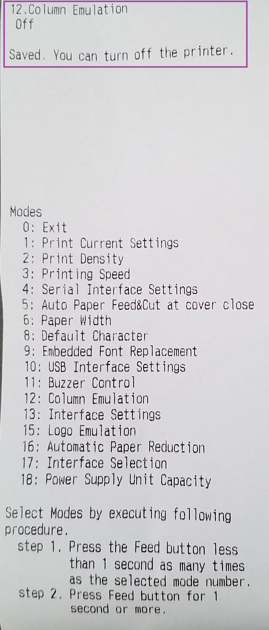 Column Settings Adjustments on Epson T20 - Printing is Off