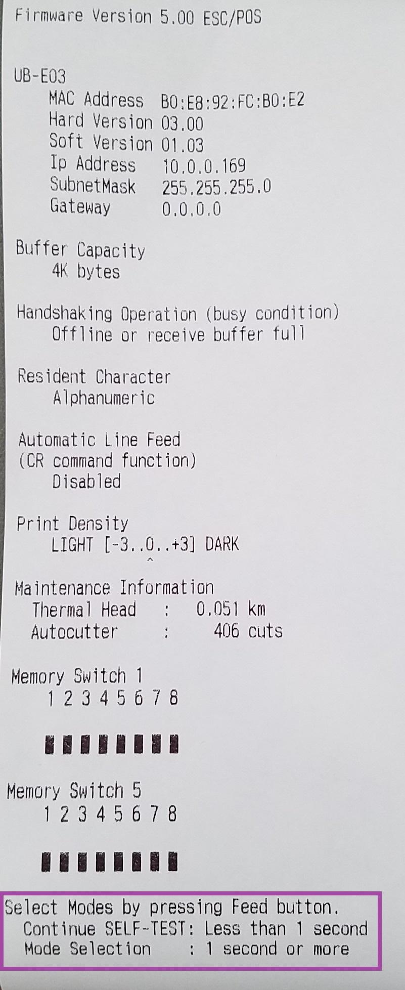 Column Settings Adjustments on Epson T20 - Printing is Off