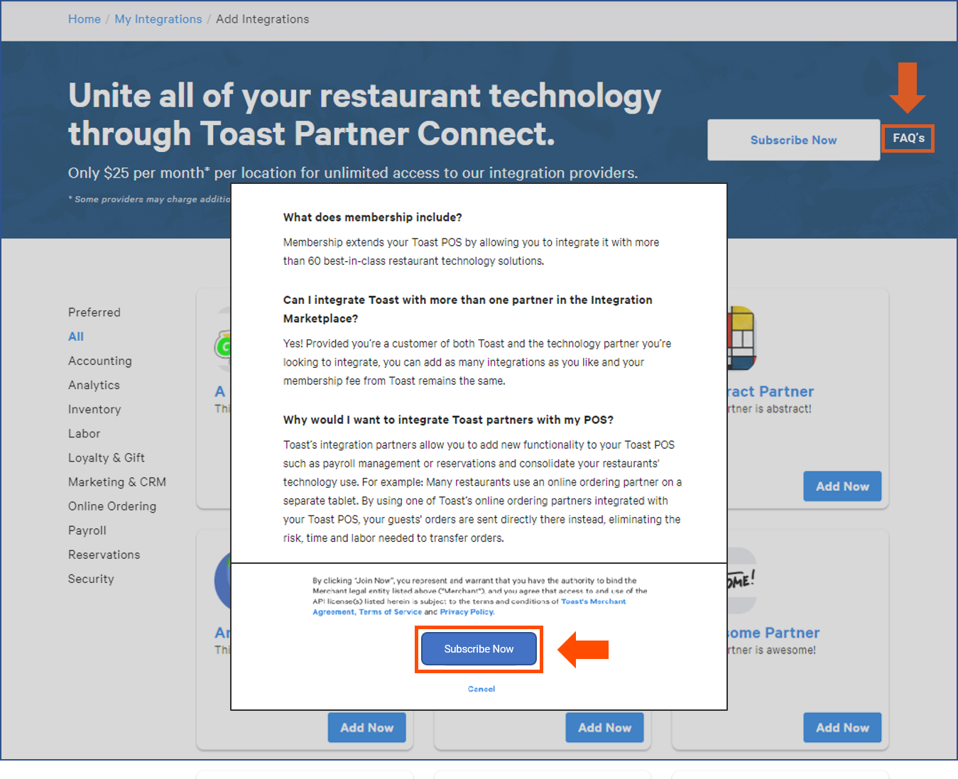 Toast Partner Connect - Setting up Integrations with Toast